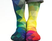 Samson® Triangles Sublimation Hand Printed Socks Shapes Colours Geometry Quality Print UK