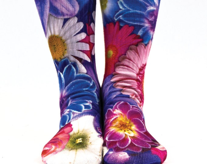 Samson® Flowers Mixed Sublimation Socks Art Colourful Quality Print UK
