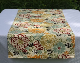 Extra Wide Table Runner - Reversible Table Runner - Floral Table Cover - Marsala and Mustard Table Runner