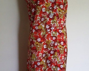 70's shift dress, floral shift dress, XL, orange floral dress, sleeveless shift dress, button front dress