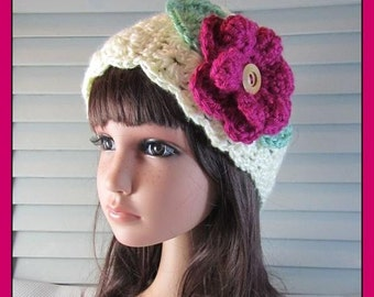 Off-White Granny Square Headband with a Big Maroon Flower and Leaves .. teen to adult . .. .