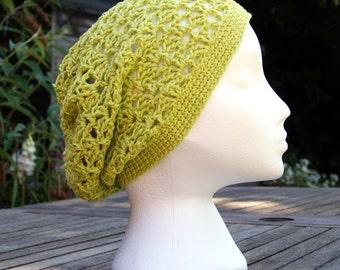 Crochet slouchy hat, Womens lightweight summer hat, Cool open fan stitch crochet hat. Cotton hat. Beach hat, boho hat, green hat