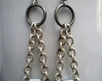 Silver chain industrial hardware earrings handmade edgy found object jewelry upcycled repurposed