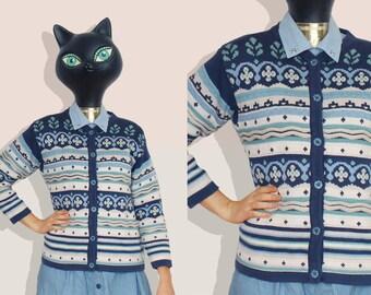 80s Blue White and Celadon Fair Isle Cardigan / Dale of Norway chunky Scandinavian Hard Knit cotton Cardigan