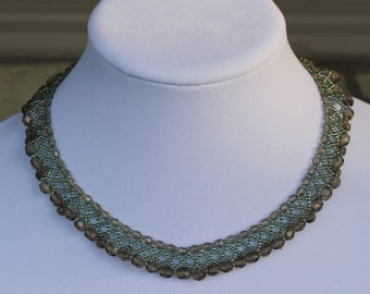 Crystal Necklace Smoky Turquoise
