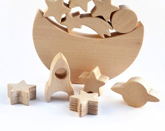 Moon Star Space Themed Balance Toy - Wooden game  - Moon Star Rocket Planets - Educational balancing set - Wooden toy