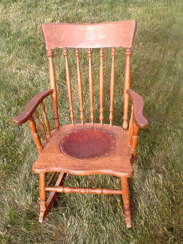 Vintage Wooden Rocking Chair with Hand made Leather seat