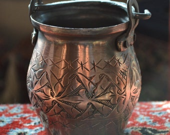 Copper Bucket with Engrived Decorative pattern Great Decorative Pencil Holder