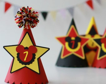Mickey Mouse birthday party hat Paper hat Mickey Mouse hat Mickey Mouse party decorations Minnie Mouse Birthday hat Mickey Mouse party hat