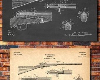 Browning Bolt Rifle Patent Print Art 1899