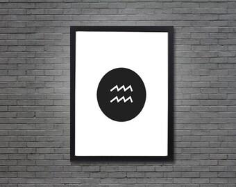 Aquarius Zodiac Sign - White | Digital Art, Printable