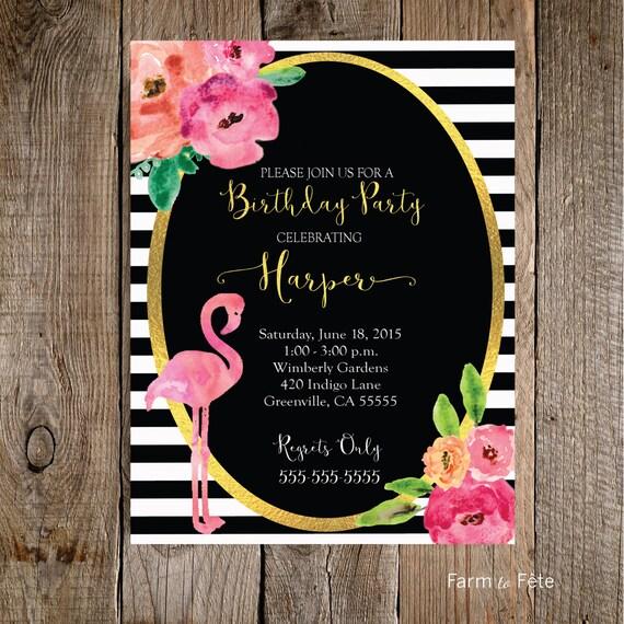 Black and White Flamingo Birthday Party Invitation by ...