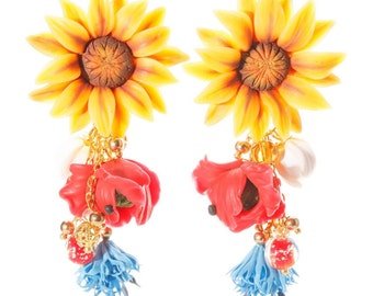 Ukraine Earrings, Wildflowers Earrings, Drop Earrings, Polymer clay Earrings, Handmade Earrings, Yellow Red Blue, gift for her