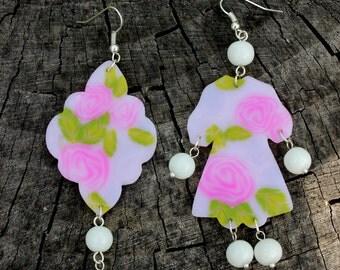 Little Dress Earrings - Free Shipping - Polymer Clay Earrings - Pink Earrings - Dangle Earrings - Handmade Earrings - Minimalist Earrings