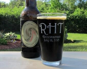 Personalized Groomsmen Beer Glass, Groom, Groomsman, Gifts for Men