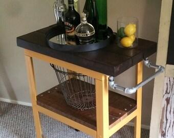 Reclaimed Bar Cart Bar cabinet or Kitchen Island Industrial Vintage Cart