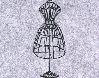 Vintage Dress Form - machine embroidery design