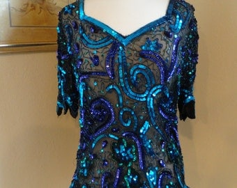 VTG Sequin Blue and Purple Top