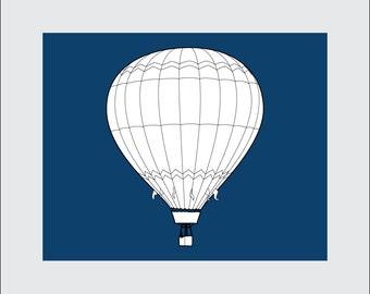 Hot Air Balloon Art Print, 8x10 PRINTABLE, Instant Download, Digital