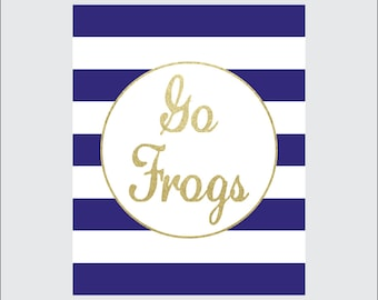 TCU Go Frogs Art Print, 8x10 PRINTABLE, Texas Christian University, Horned Frogs, Gold, Stripes, Instant Download, Digital