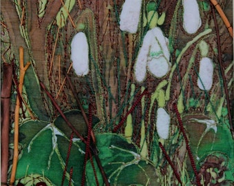 Snowdrops in the woods, textile art in 26 x 26 box frame