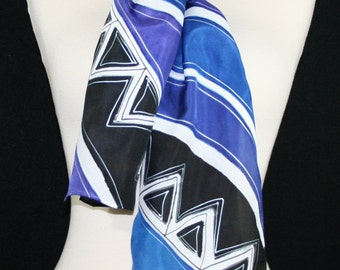 Silk Scarf Handpainted. Black, White, Periwinkle Hand Painted Shawl. Handmade Silk Wrap PURPLE SAVANNA. 8x54.  Birthday Gift. Gift Wrapped
