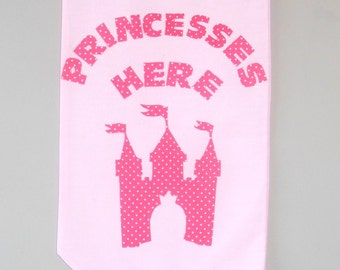 Princess party decoration - Hanging Banner - Fabric Party Banner - 'Princesses Here'