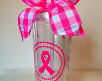 Breast Cancer Tumbler- 20 oz. with Pink Ribbon Polka Dots
