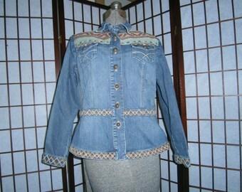 Women's Denim Jacket - Aztec Design