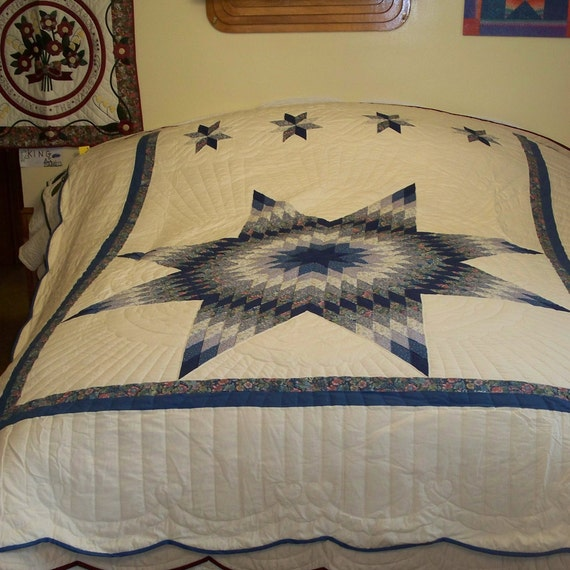 Lone Star Quilt Pattern Queen Size : Lone Star Quilt in Queen size Mostly blue with a touch of