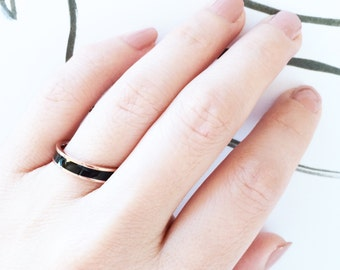 Black Ceramic Band 18K Rose Gold Ceramic Ring Multifinger Ring Simple Elegant Everyday Ring Wedding Bridal Bridesmaid Ring Birthday Gift