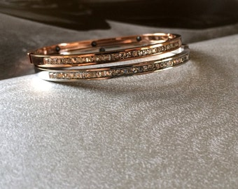Diamond Bangle Bracelet 18K Rose Gold Silver Diamond Bangle Simple Dainty Bangle Valentine's Day Wedding Bridal Bridesmaid Birthday Gift