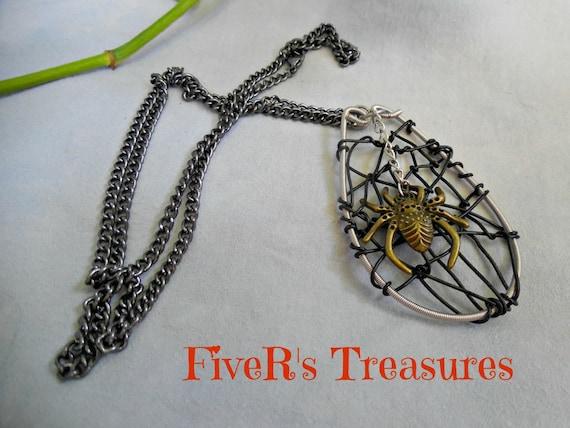 guitar string necklace scary bronze spider and her black web. Black Bedroom Furniture Sets. Home Design Ideas