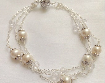 Sterling Silver Triple Strand Pearl and Crystal Bracelet