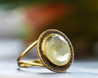 Sophisticated Lemon Quartz and Black Spinel Ring set in 14K Yellow Gold, Faceted Quartz Statement Ring, Yellow Gold Ring, Zehava Jewelry