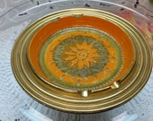 Bitossi Rosenthal Netter Orange , Gold, and Brown Sunburst - VERY Vintage Ashtray, Made in Italy, 1960s, AWESOME Condition!