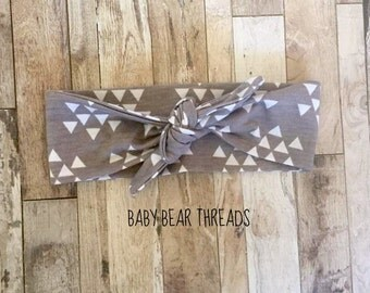 Grey and White Triangles - Knotted Headband - Baby Head Wrap - Tribal