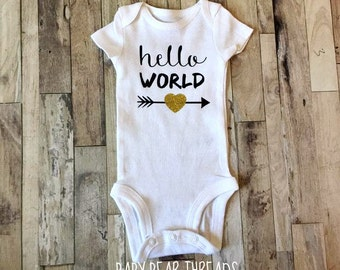 Hello World Gold Heart - Baby Bodysuit - Newborn - Gold Glitter