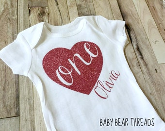 Personalized Birthday Shirt - First Birthday - Glitter Heart - Any Number