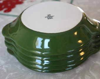Retro Au Gratin Lovely Green Ceramic Dishes, Chefsware, 5-Piece Set