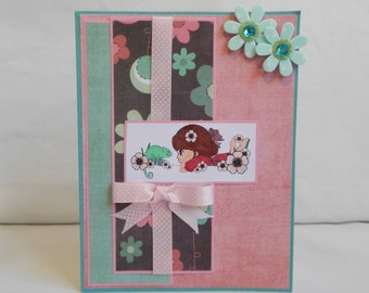 Spring Card, Paper Handmade Greeting Card, Blank Card, Just Because, For Her, Card Shop, All Occasion, Female Card, Flowers, Blue, Pink