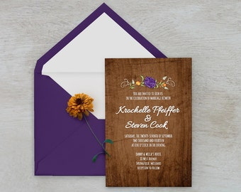 Rustic Wood & Flowers Wedding Invitation