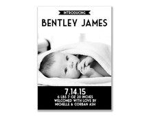 Black and White Baby Boy Modern Birth Announcement Card