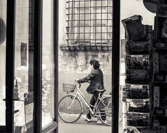 Lucca Shopkeeper/Bicycle Italy Postcard/Fine Art Photography/Metallic Paper Print/Classic Italy/Travel Photograph/B&W Silvertone/Anne Groton