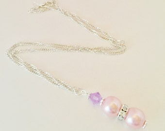 Pink Pearl Necklace Purple Crystal Necklace Bridesmaid Gift Wedding Jewelry Maid of Honour Gift Baby Pink Lilac Crystal Jewelry Set