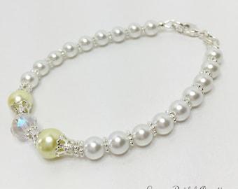 Lemon Pearl Bracelet Crystal Bracelet Bridesmaid Gift White Pearl Bracelet Bridesmaid Jewelry Wedding Set Yellow Bracelet Crystal Jewelry