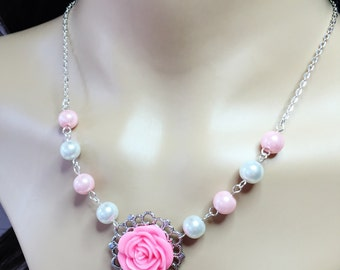 Pink Rose Necklace Resin Flower Necklace Wedding Jewellery Bridesmaid Necklace Mother of the Bride Gift Pink Pearl Necklace Pink Jewellery
