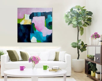"ORIGINAL PAINTING, Large abstract art, modern art painting, pink, blue, yellow, green, contemporary expressionist painting, ""Pink Champagne"""