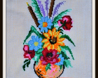 Cross stitched flowers, embroidery, cross stitch embroidery, picture, cross-stitch bouquet