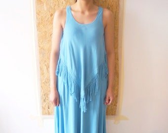 FRINGES / fringed dress / long dress / cotton line / Boho Dress / Hippie Dress / blue / hook